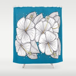 Zentangle Blue and Gold Hibiscus Blossoms for Flower Lovers Shower Curtain