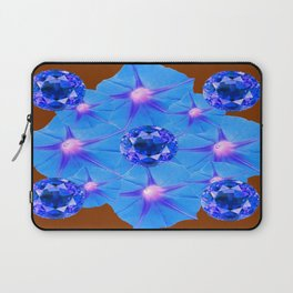 Coffee Brown Blue Morning Glories Geometric Art Sapphires Laptop Sleeve