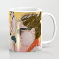 cassia beck Mugs featuring Liv and Beck in Yellow and Salmon by Kim Leutwyler