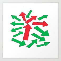red arrow over green Art Print