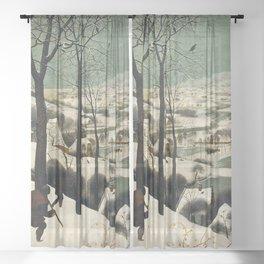HUNTERS IN THE SNOW - BRUEGEL Sheer Curtain