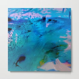 blue dream land in winter abstract digital painting Metal Print