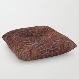 Burnished Rich Brown Tooled Leather Floor Pillow