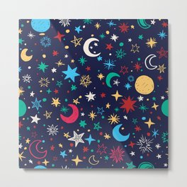 planets stars moon red yellow green navy blue pattern Metal Print