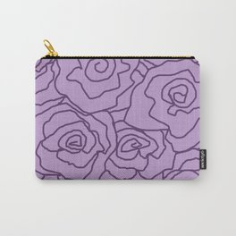 Lavender Dreams Roses - Light with Dark Outline - Color Therapy Carry-All Pouch