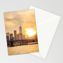 New York city skyline at sunset Stationery Cards