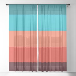 Exotic bright colorful Bohemian Chic teal burgundy Turquoise Orange Stripes Sheer Curtain