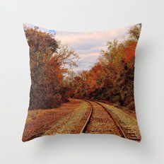 Fall on the Tracks Throw Pillow