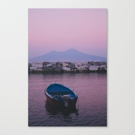 Boat on the sea. Vesuvio. Chill Canvas Print