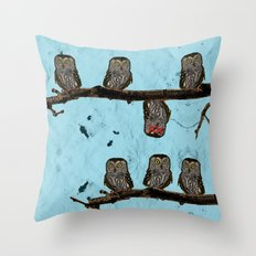 Perched Owls Print Throw Pillow