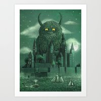 green Art Prints featuring Age of the Giants  by Terry Fan