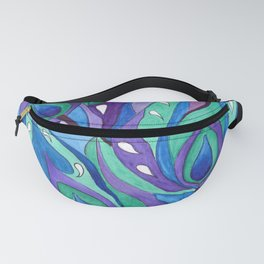 Watercolor . Abstraction . The peacock feather . 1 Fanny Pack