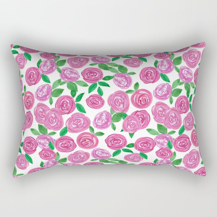 Watercolor red roses. Rectangular Pillow
