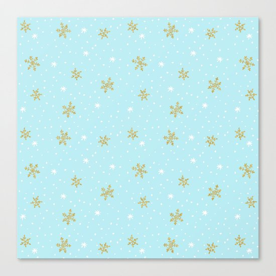 Merry christmas- abstract winter pattern with white & gold Snowflakes Canvas Print