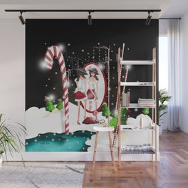 Ms. Santa's Whispering Candy Cane extended Wall Mural