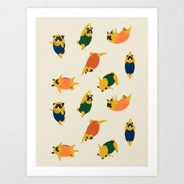 Pugs Swimmer Art Print