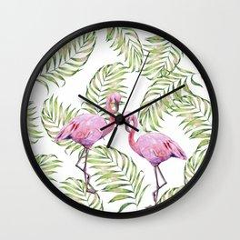 Flamingo  #society6 #buyart Wall Clock