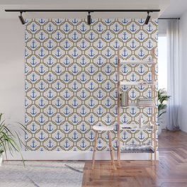Seamless nautical pattern with blue anchors and rope on white background Wall Mural