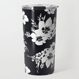 Black and white graphic floral pattern Travel Mug