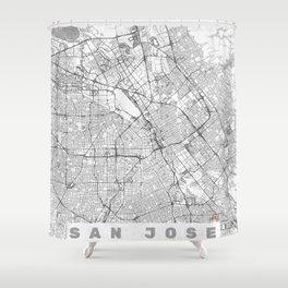 San Jose Map Line Shower Curtain