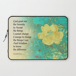 Serenity Prayer Peony Yellow Turquoise Laptop Sleeve
