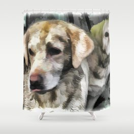 Labradors fun in the mud Shower Curtain
