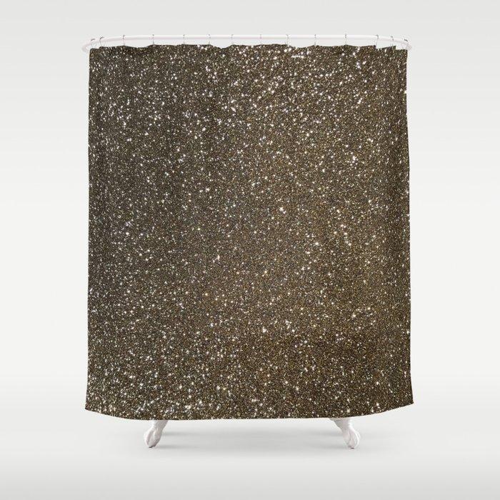 Bronze Gold Burnished Glitter Shower Curtain