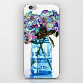 Watercolor Hydrangeas in Blue Mason Jar iPhone Skin