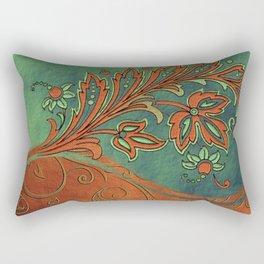 Baroque Bronzed Teal Flowers Rectangular Pillow