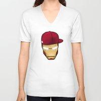 rap V-neck T-shirts featuring Rap man by Tony Vazquez