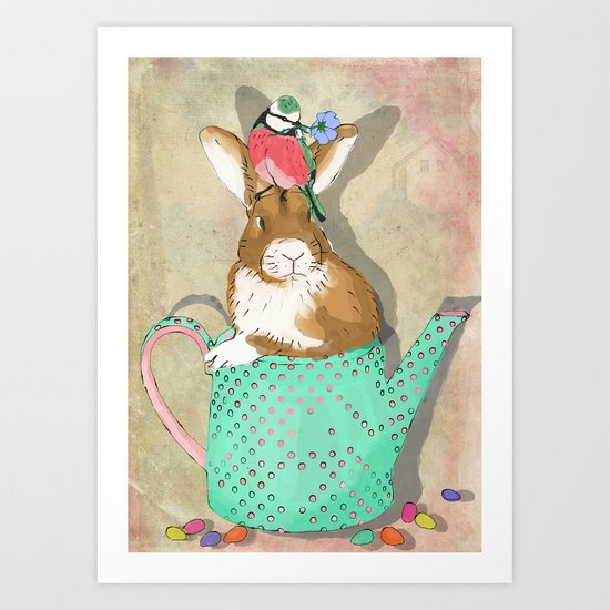 bunny in the teapot Art Print
