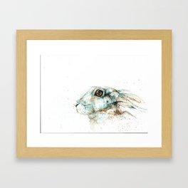 Scared blue hare Framed Art Print