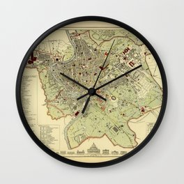 Map Of Rome 1882 Wall Clock