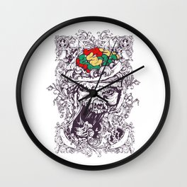 Skull with Brain OUT Wall Clock
