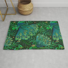 Peacocks in Emerald Forest Rug