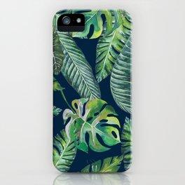 Jungle Leaves, Banana, Monstera, Blue iPhone Case