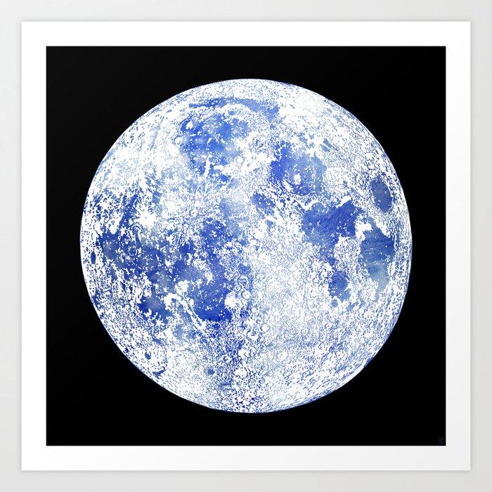 Moon Map Noir Art Print
