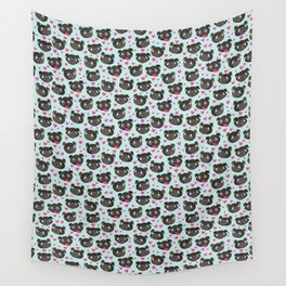 black pugs and hearts cute pug Wall Tapestry