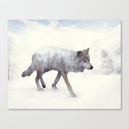 Double exposure of wolf in the winter woods Canvas Print
