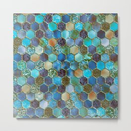 Blue & green metal glitter geometric hexagonal honeycomb pattern Metal Print