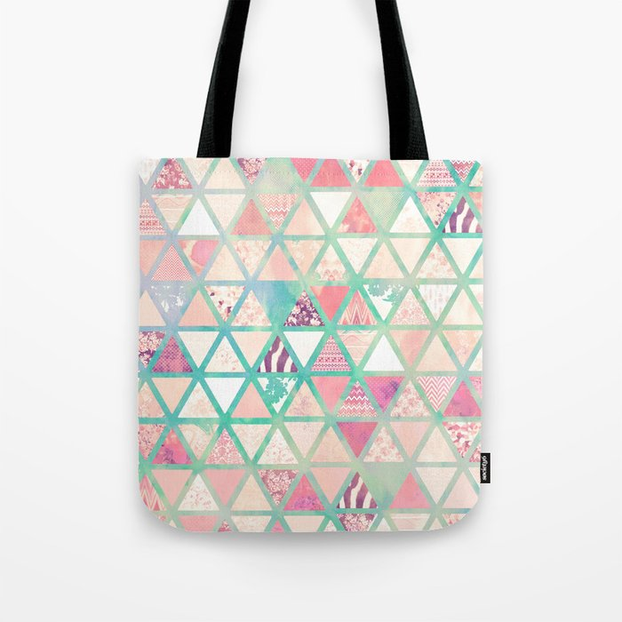 Pink Turquoise Abstract Floral Triangles Patchwork Tote Bag