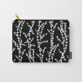 Vines (white on black, large pattern) Carry-All Pouch