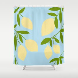Lemon Tree Illustration against a blue sky Shower Curtain