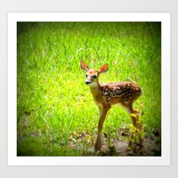 fawn Art Prints featuring FAWN by 2sweet4words Designs
