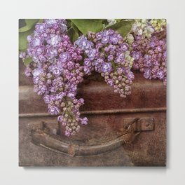 Vacation in the spring- lilac and vintage suitcase Metal Print