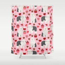 Old English Sheepdog valentines day hearts cupcakes pattern pet portrait dog art gifts love Shower Curtain