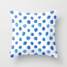 Watercolor Tie Dye Dots in Indigo Blue Throw Pillow