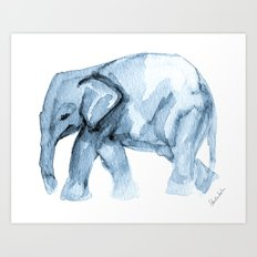Elephant Sketch in Blue Art Print
