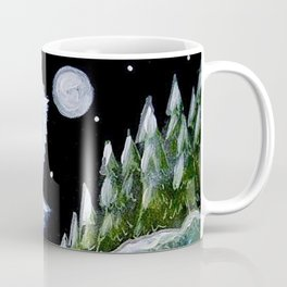 TINY BLUE OWL FOUND THE HOLIDAY PINE TREES Coffee Mug