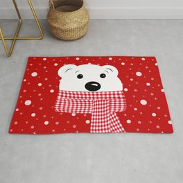Muzzle of a polar bear on a red background. Rug